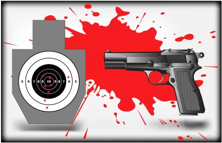 gunpowder: The vector image of a target and pistol Illustration