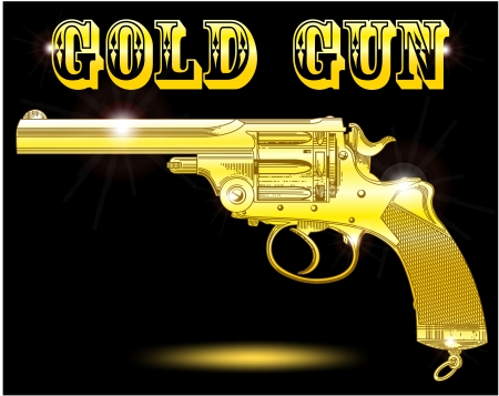 The image of a gold revolver on a black background with patches of light Vector