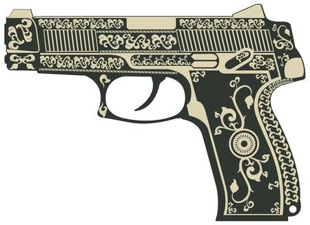 gangster with gun: El vector de imagen de la pistola con un patr�n