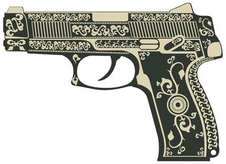handguns: The vector image of Pistol with a pattern