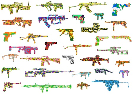 set the intention: The vector image of a collection of camouflage weapon