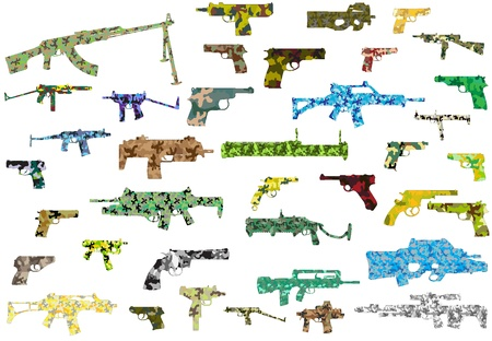 The vector image of a collection of camouflage weapon Vector