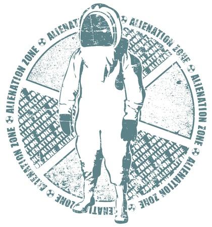 alienation: The vector image of alienation zone stamp Illustration