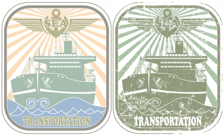 The image Sea transportation stamp Stock Vector - 14181525