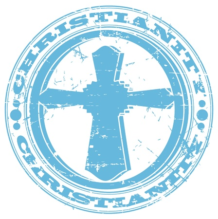 catholicism: The vector image of color Christian cross a stamp
