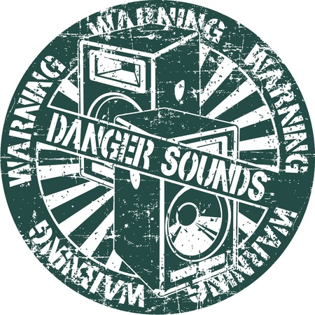 The image of Danger sounds stamp Vector