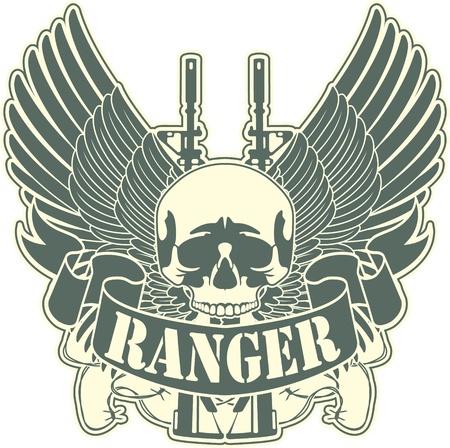 оружие: Образ цвет герба с изображением черепа и оружие Иллюстрация
