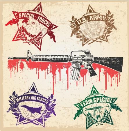 estrellas  de militares: La imagen de color de sellos militares Vectores