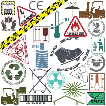 trash danger: The image Mega set of warning signs