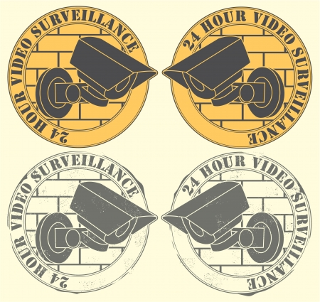 Set of the seals with the image of an observation camera with the text 24 hours of video of supervision Stock Vector - 14233894
