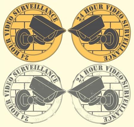 nadzór: Zestaw uszczelek z obrazem kamery obserwacyjnej z tekstem 24 godzin wideo nadzoru