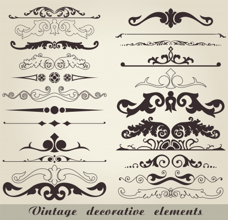 The vector image of Vintage decorative elements Illustration