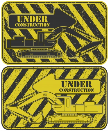 dredge to dig: The vector image Under construction stamp