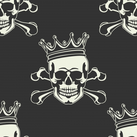 The vector image of Emblem with  skull and  crown Seamless Illustration