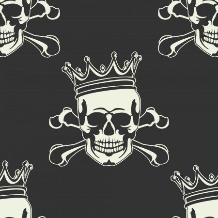 calavera caricatura: El vector de imagen del emblema con el cr�neo y la corona sin costuras