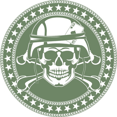 military helmet: The image of Emblem a skull in a military helmet Illustration