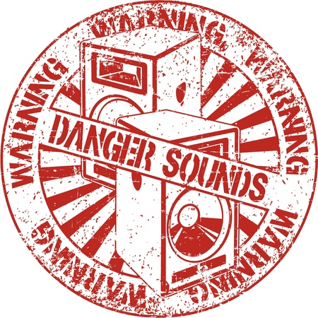 The vector image of Danger sounds stamp