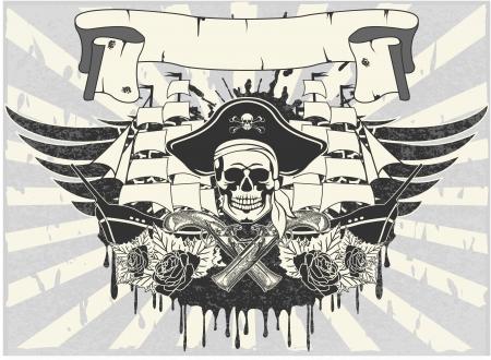 calavera pirata: El vector de imagen de la etiqueta engomada en la camiseta