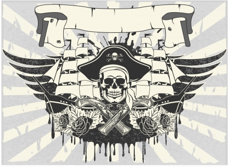 drapeau pirate: Le vecteur d'image de l'autocollant sur la chemise Illustration