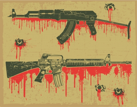 arm tattoo: The vector image Grunge weapon stamp