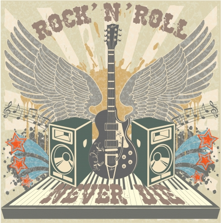 rock guitar: The vector image of Rock n Roll never die