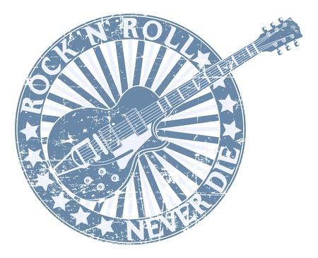 rock music: Vector image of Rock n Roll never die stamp