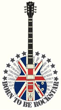 drapeau angleterre: Le timbre image vectorielle n� pour �tre la star du rock Illustration