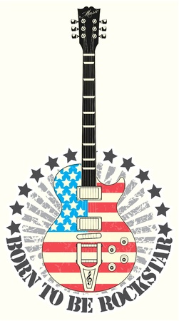 guitariste rock: Le timbre image vectorielle n� pour �tre la star du rock Illustration