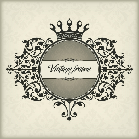 The vector image Vintage frame with crown Stock Vector - 14483589