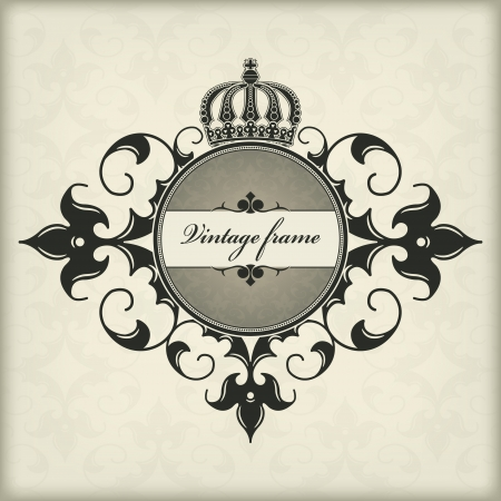 The vector image Vintage frame with crown Vector