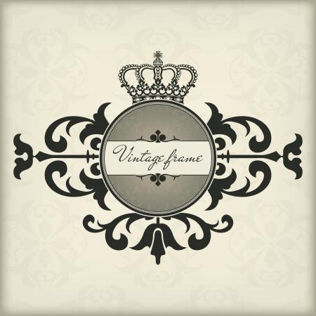 corona real: El cuadro de imagen vector de la vendimia con la corona