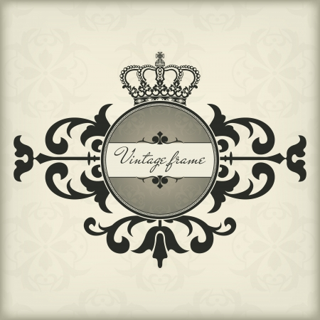 The vector image Vintage frame with crown Illustration