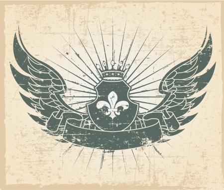 grunge wings: Il vettore immagine del timbro Vintage