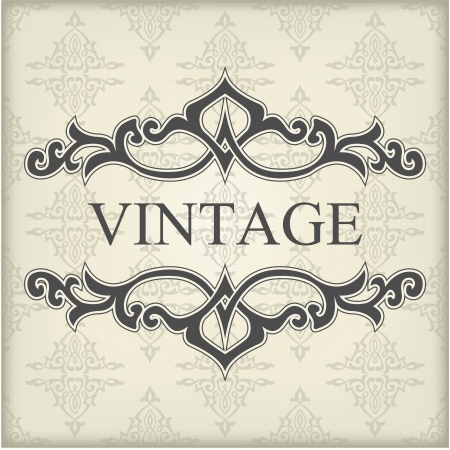 The image of Vintage template with floral frame Vector
