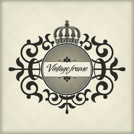 The  image Vintage frame with crown Stock Vector - 14836234