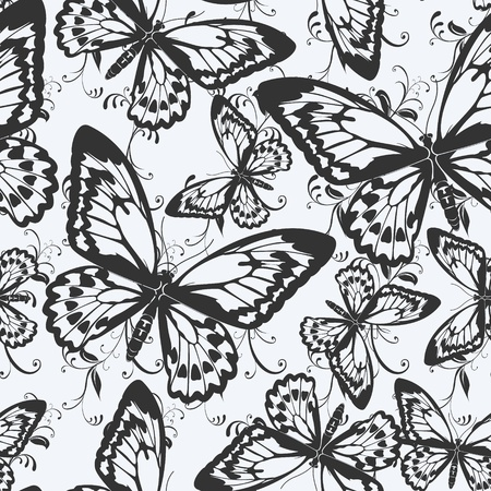 free backgrounds: image of color Seamless pattern with butterflies  Illustration