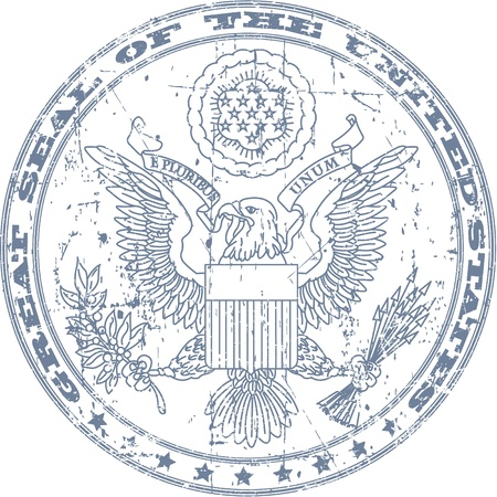 The vector image of Great seal of the United States stamp Vector
