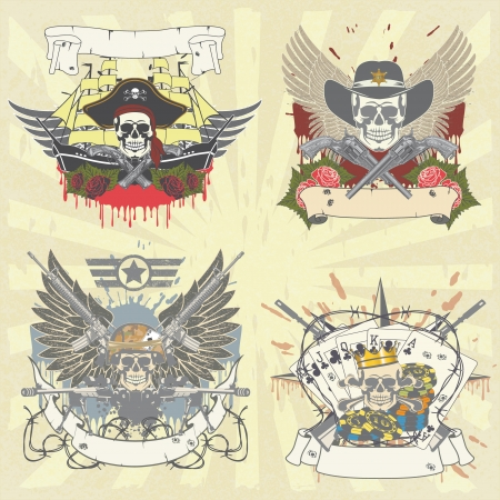 star wars: The image of color set of stickers on shirt with skulls Illustration