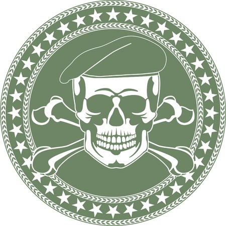 military beret: The image of Skull emblem in a beret