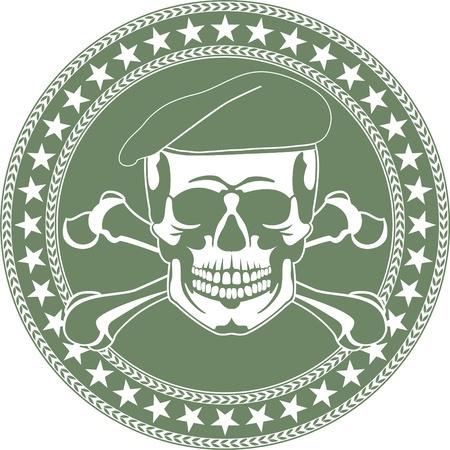 The image of Skull emblem in a beret