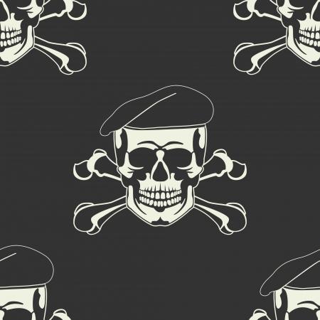 The image of Skull emblem in a beret Seamless  Illustration