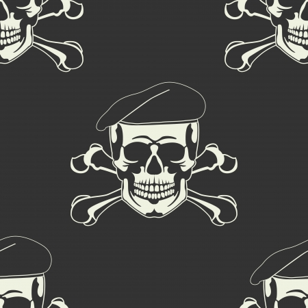 The image of Skull emblem in a beret Seamless