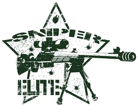 special forces: The image of Sniper elite stamp Illustration