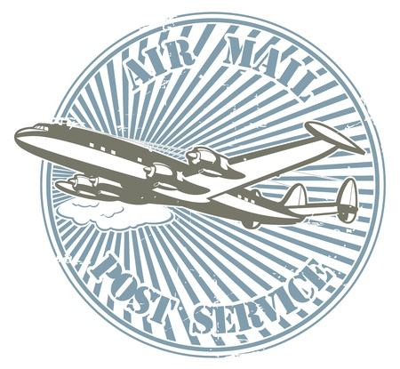 The image of color Stamp with the image by plane and the text air mail and post service Stock Vector - 15367844