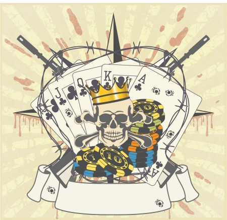 skull and crown: The image of Sticker on the shirt Illustration