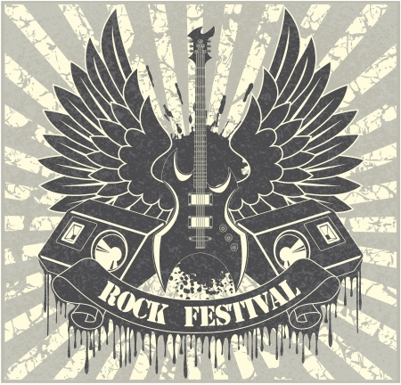 Sticker on the shirt the image of a guitar of wings of columns and tapes with the text rock festival