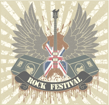 Sticker on the shirt the image of a guitar of wings of columns and tapes with the text rock festival Vector