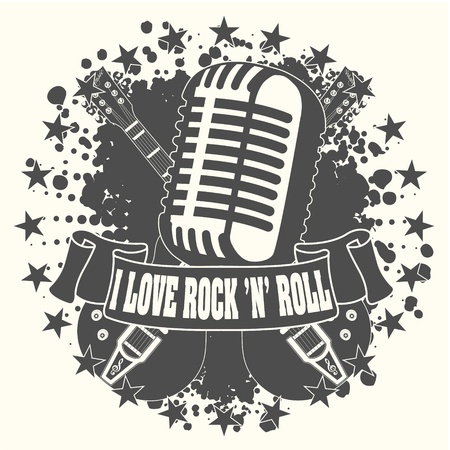 El símbolo de la imagen me encanta un rock n roll Ilustración de vector