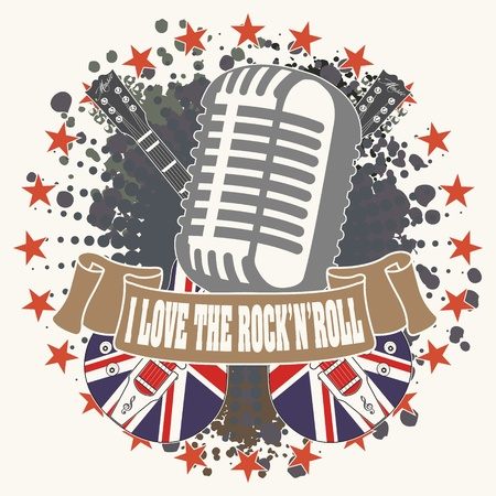 The image of Symbol I love a rock n roll Illustration