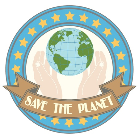 The image of Stamp in style grunge with the mother earth image in hands with the text keep a planet Vector